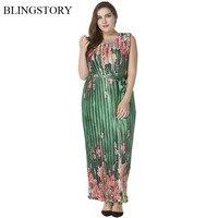 BLINGSTORY New Fashion Bohemia Holiday Satin Pleated Organ Floral Printing Summer Silk Dress XL 6XL CM5043
