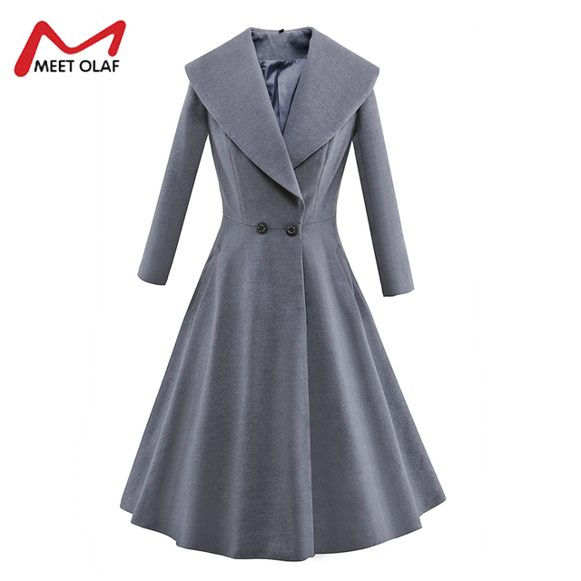 Women Woolen Dress Coats Female Winter Jackets Elegant Wool Blends