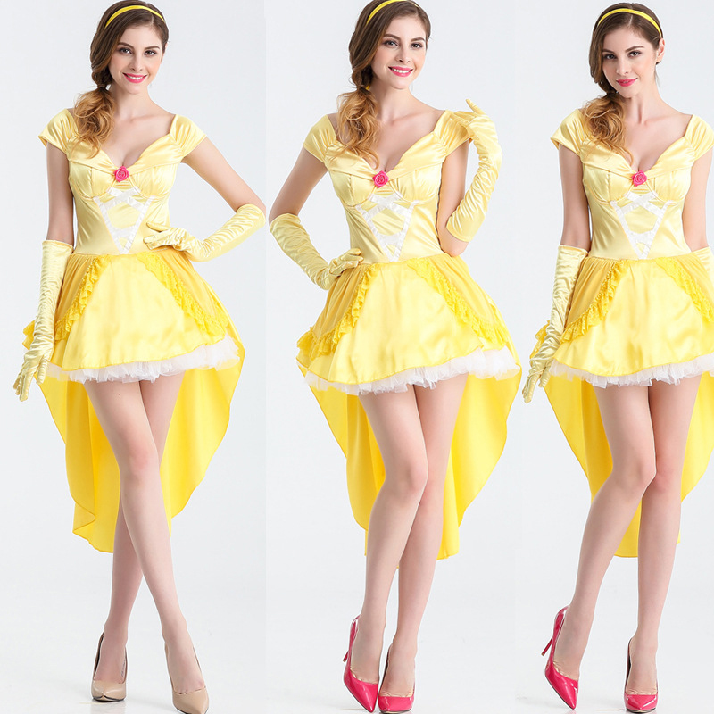 Quality New Halloween Queen Uniform Set Prom Party Costume Fairy Snow White Plays Cute Yellow Anime Costume Cosplay Costume