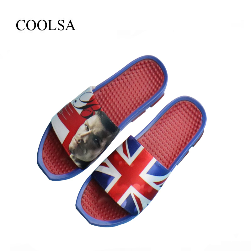 COOLSA Brand Men's Summer Massage Slippers Football Star Photo Massage Slippers Men's Flip Flops Bathroom Slippers Drop Shipping