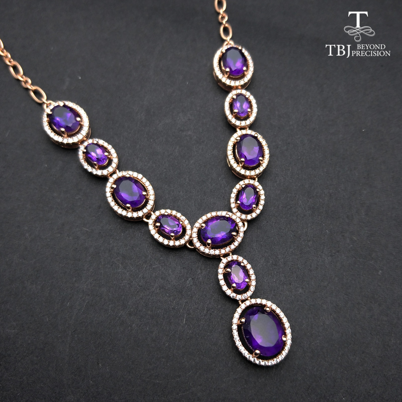 TBJ, Graceful Necklace for party with natural african amethyst 11.5ct gemstone fine jewelry in 925 sterling silver with gift boxTBJ, Graceful Necklace for party with natural african amethyst 11.5ct gemstone fine jewelry in 925 sterling silver with gift box
