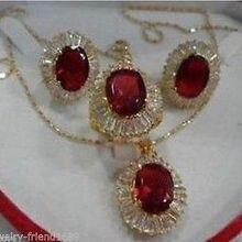 Изысканные ювелирные изделия, новая мода, кубический цирконий, модный% красный кристалл, ожерелье, подвеска, серьги, кольцо, ювелирные наборы+ Цепочка