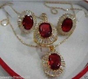 Хорошее украшение, настоящая Новая мода, кубический циркониевый тренд, % красный кристаллический ожерелье, серьги, кольцо, наборы ювелирных ...