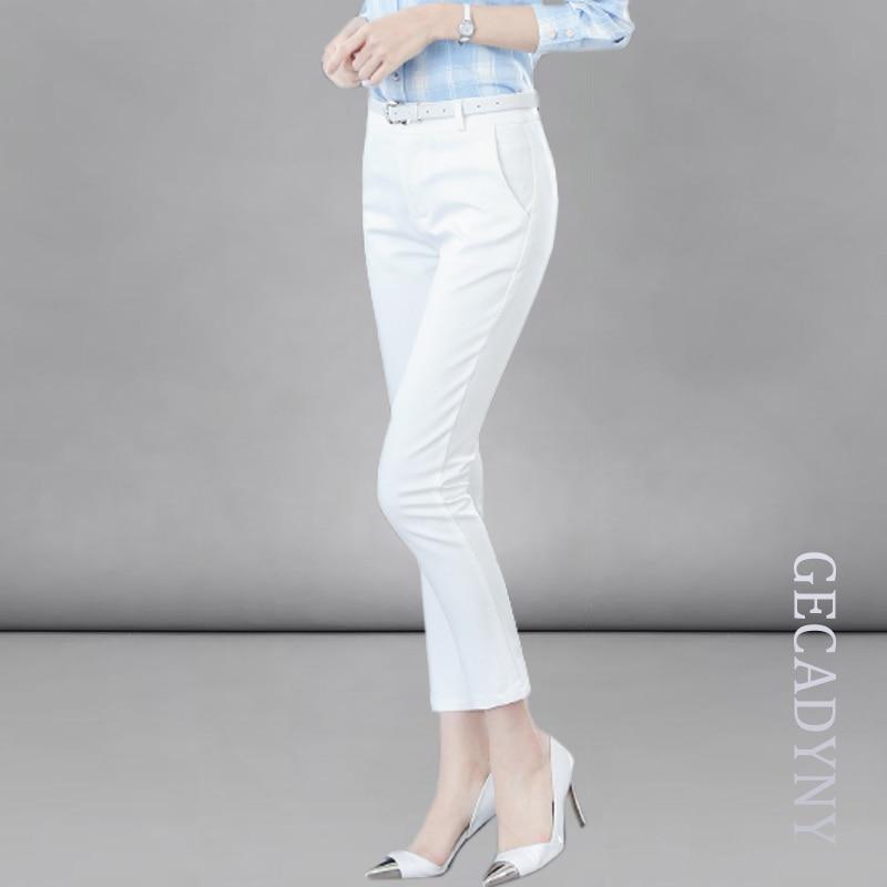 Pure Colors High Waist   Pants     Capris   Women OL   Pants   Solid Skinny Slim Office Formal Patchwork Casual   Pants   Pantalon Femme S-XXL