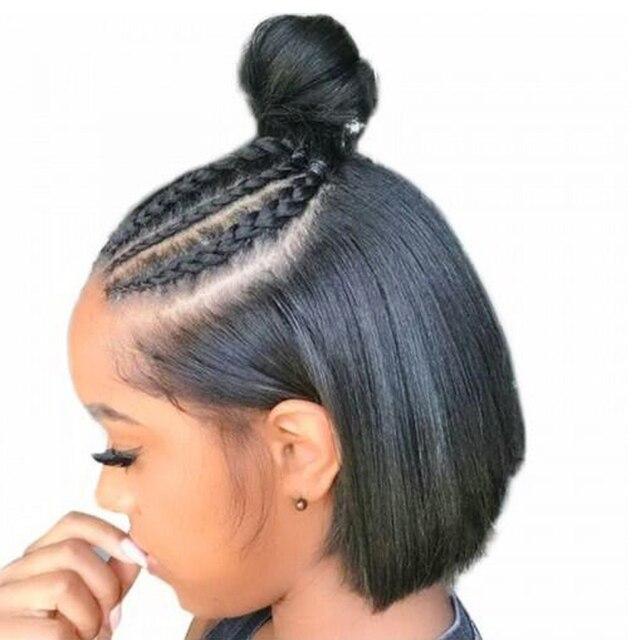Pelucas de pelo humano de encaje corto de zafiro pelucas de pelo humano brasileño Peluca de Bob pelo Pre desplumado nudos blanqueados parte media de encaje pelucas