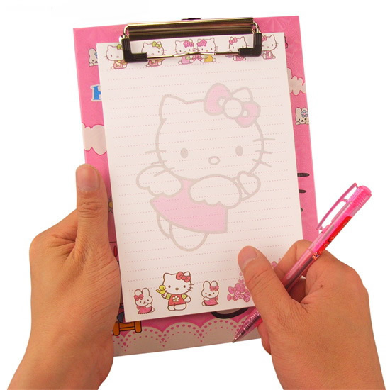 Free shipping Hello Kitty Notebook Stationery set Clamp plate+2 pen+notepad Cartoon School supplies for students Kids Cute gift