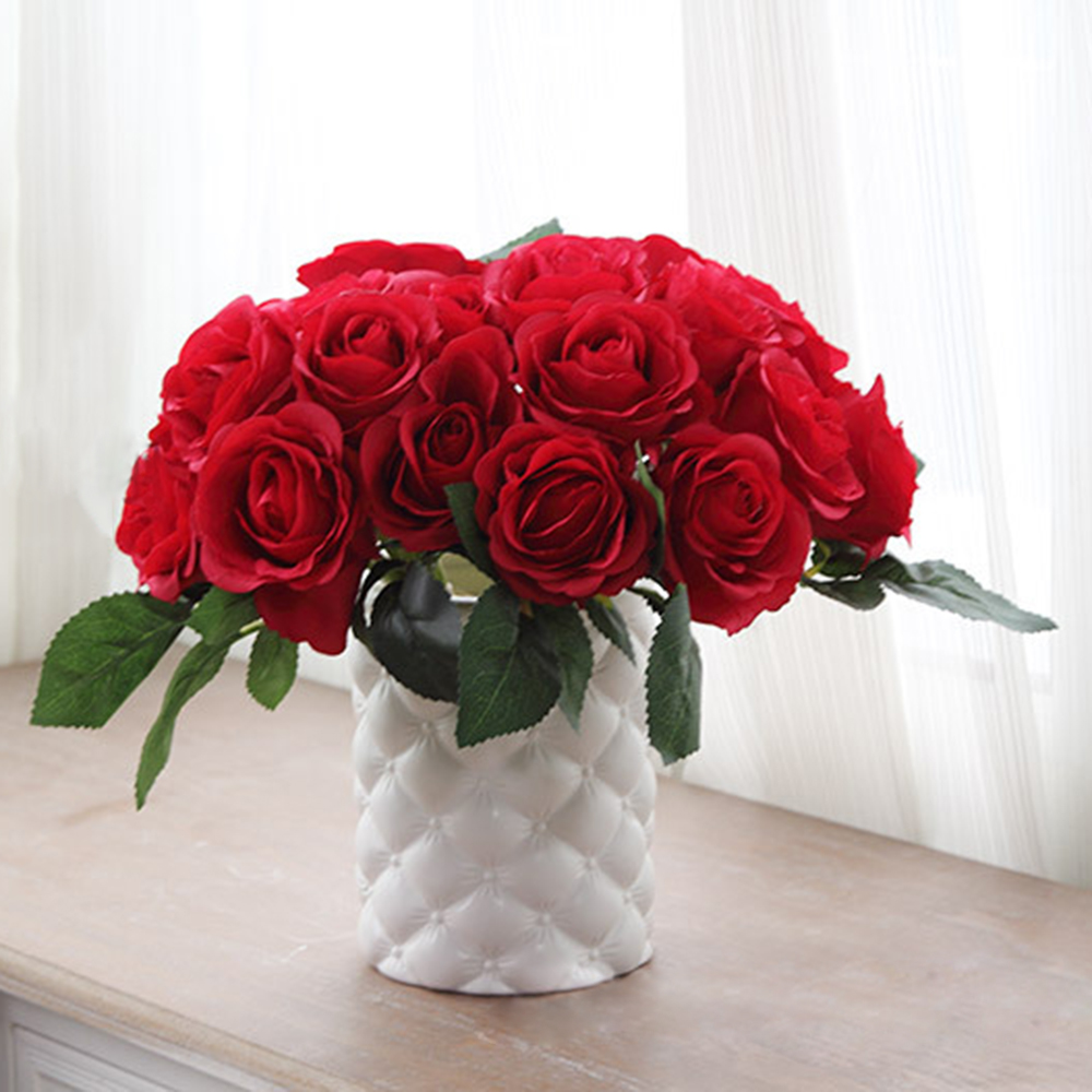 NEW Fashion 10 Heads Lovely Cute Artificial Rose Flower Wedding Bridal Bouquet Home Decor  P00 fake rose flowers