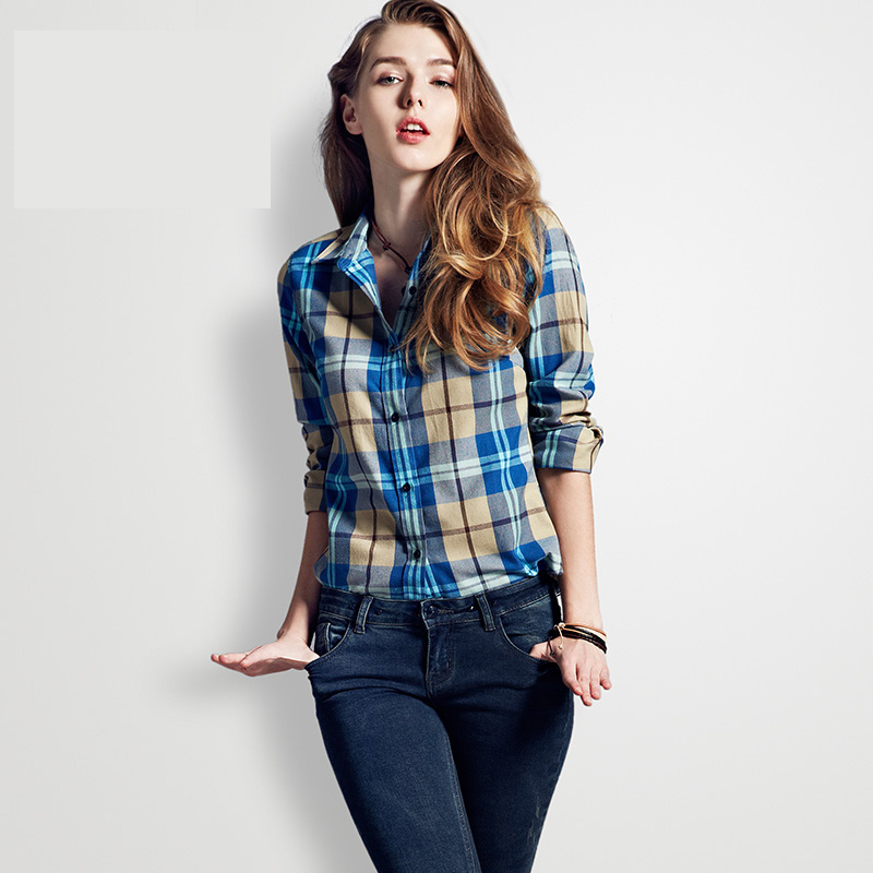 71ce7944b Blue Checkered Shirt Women Cotton Plaid Shirt Female Long Sleeve Plaid  Flannel Shirt Cell Casual Collared Feminine Blouses 2015-in Blouses & Shirts  from ...