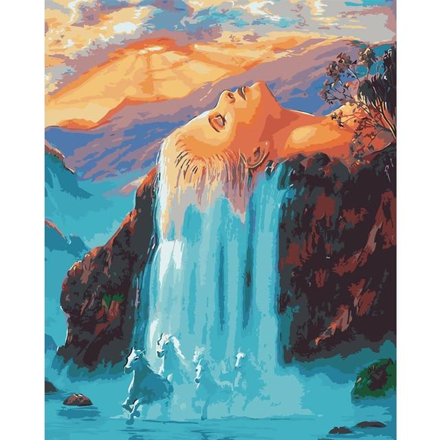 Colorear por números fantasía cascada y caballo mano pintura sobre ...