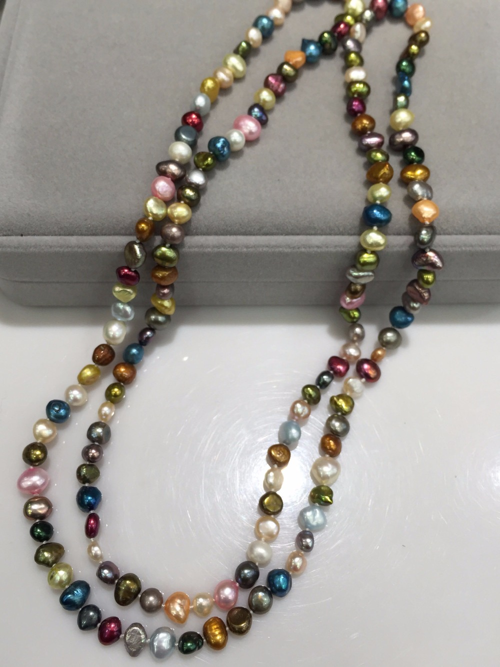 """freshwater pearl baroque multicolor 7-9mm 65/"""" long necklace nature wholesale"""