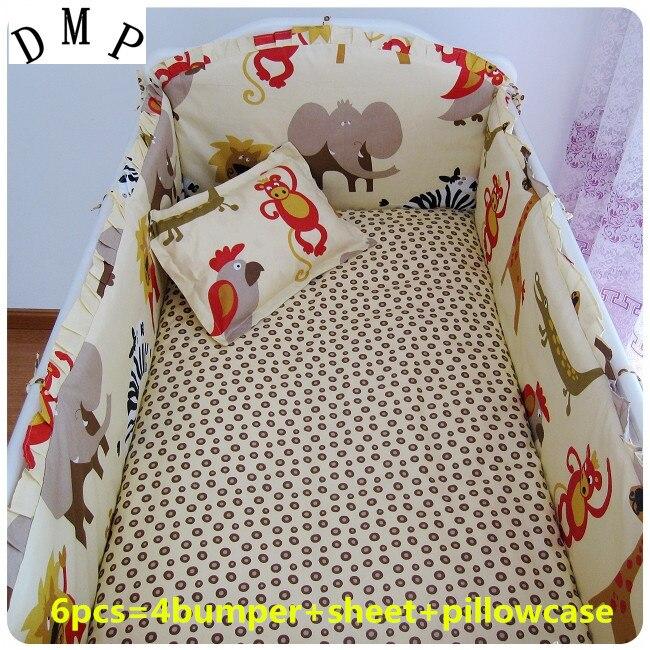 Promotion! 6pcs Baby bedding set,crib bedding set 100% cotton bedclothes,(bumpers+sheet+pillow cover) promotion 6pcs option 100