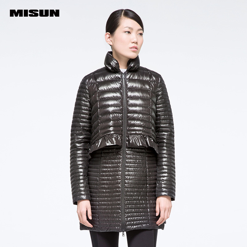 Misun 2017 new autumn winter faux two piece slim thin down coat female 90% velvet patchwork Lotus leaf side outwear MIDQ-Q327B