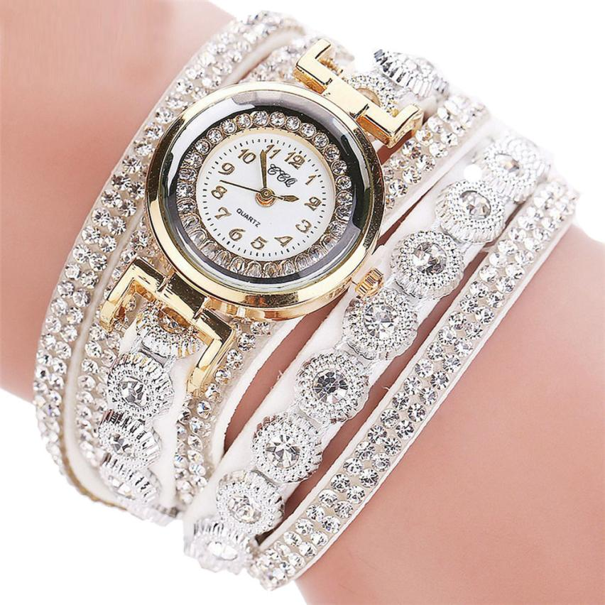 Women Watch  Quartz  Fashion Casual Analog Watches  Rhinestone Bracelet Luxury  Wristwatch Clock Gift  18MAY11
