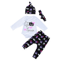 Godier 4pcs Newborn Infant Baby Girls Clothes Soft Cotton Long Sleeve White Bodysuit Tops Pants Headband