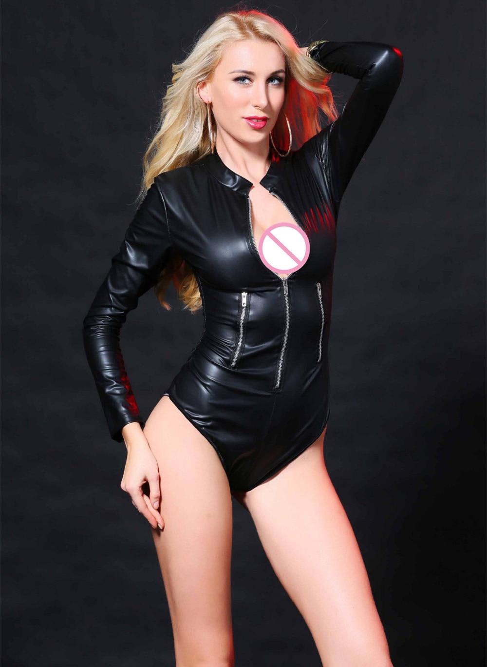 Black Leather Lingerie Sexy Front Zipper BodySuits PVC Erotic Costumes Latex Catsuit Sexy Women Clubwear M-XXL