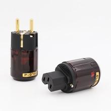 Hallo Ende Paar P 079E + C079 24k Gold Überzogene EU Power Plug ac power kabel stecker