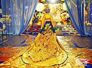 Image 2 - Yellow Golden Gorgeous Embroidery Female Emperor Dragon Robe Costume Hanfu for TV Play Legend of Tang Empress Wu Meiniang