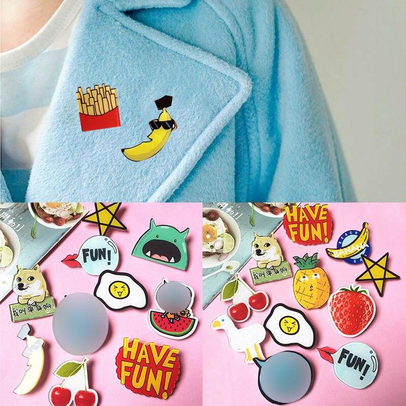 Sale 1PC Hot Sale Trendy Plastic Brooch Cute Colorful Cartoon Badge Unisex Acrylic Badge Fashion Mini Brooch Anime Icons Badges
