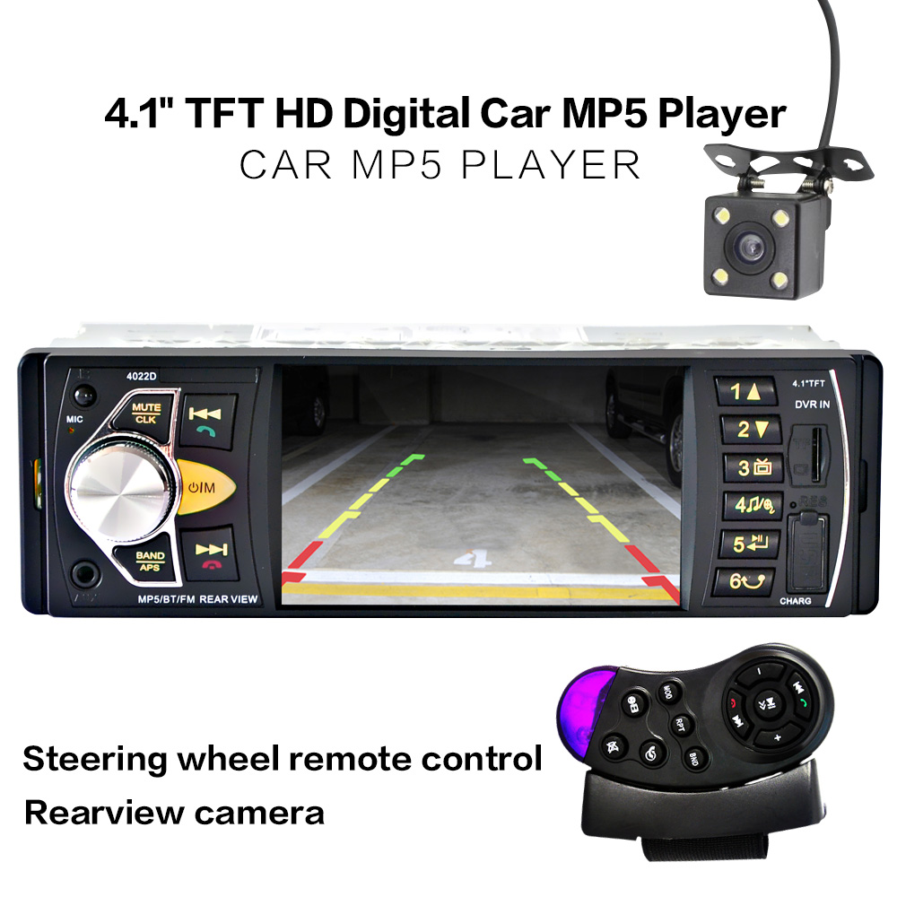 Autoradio Dell'automobile MP5 MP3 Mp4 USB Auto 4.1 ''HD TFT 12 V Auto telecamera stereo IN OUT FM/SD/Cartella Play/AUX bluetooth