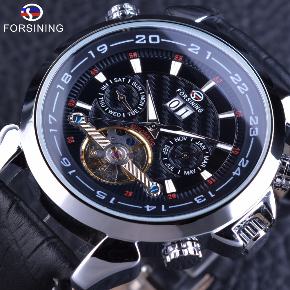 цена Forsining Tourbillion Design Genuine Leather Calendar Display Obscure Dial Mens Clock Top Brand Luxury Automatic Wrist Watches