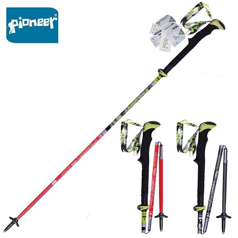 2 pcs/paquet bâtons de Trekking en Fiber de carbone ultra-léger pliant pliable Trail course randonnée bâtons de marche cannes légères
