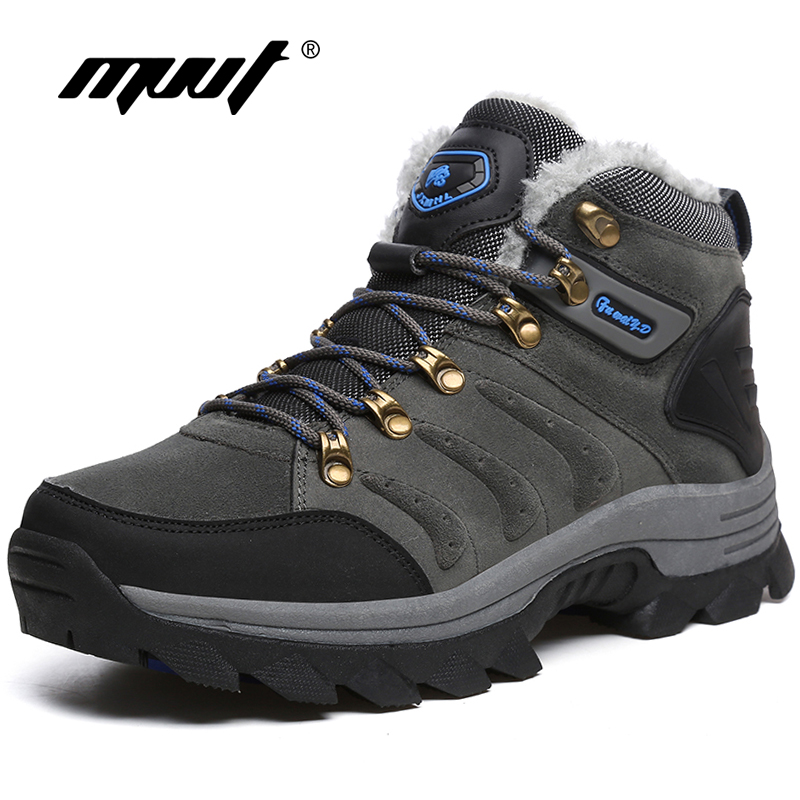 Supper Warm Fur Men Hiking Boots Waterproof Winter Outdoor Men Sneakers Professional Climbing Shoes Men yin qi shi man winter outdoor shoes hiking camping trip high top hiking boots cow leather durable female plush warm outdoor boot