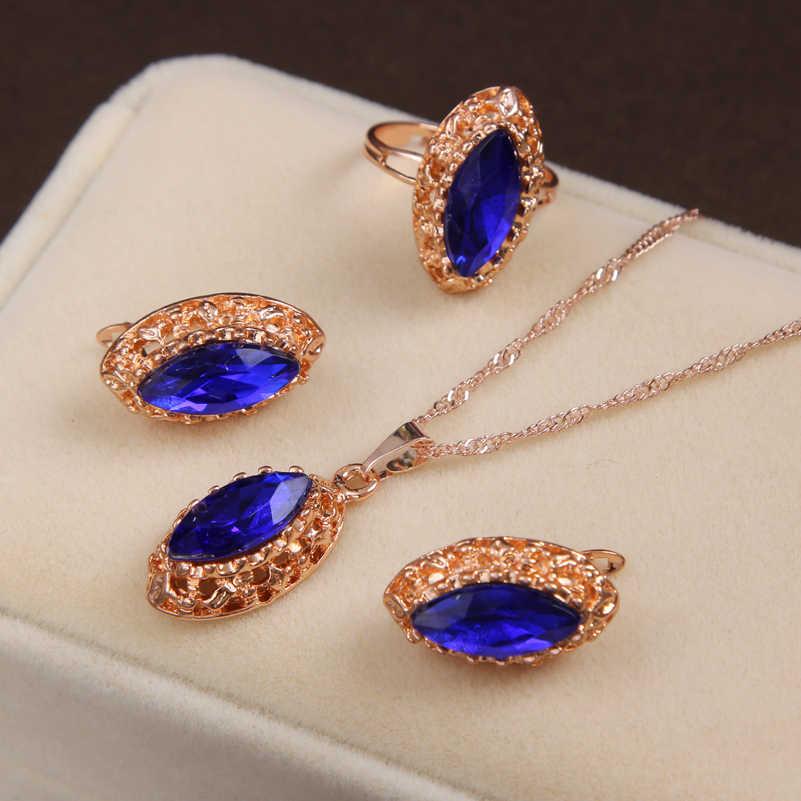 MINHIN זהב צבע ארוך שרשרת שרשרת כחול סינטטי קריסטל תליון תכשיטי נשים של יוקרה 3 חתיכות חתונת תכשיטי סט