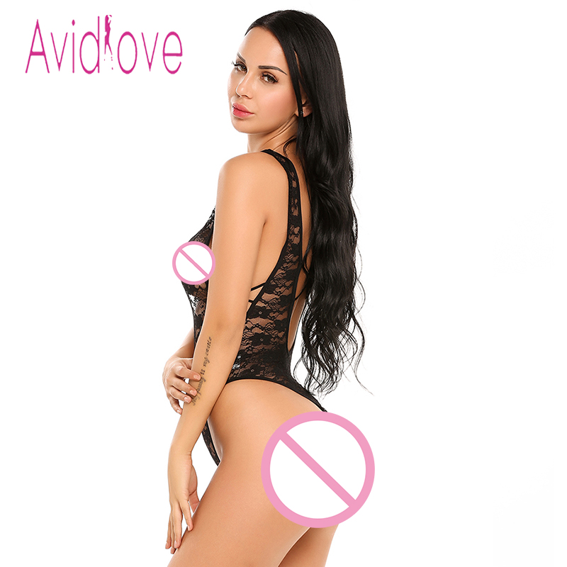 Avidlove Sexy Lingerie Body Suit Women Sexy Deep V-Neck Lace Transparent Mesh Lingerie Night Jump Suit Sexy Babydolls For Women