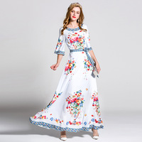 High Quality Smmer 2017 Brand Designer Long Runway Dress Women S Half Sleeve Floral Printed Pleated