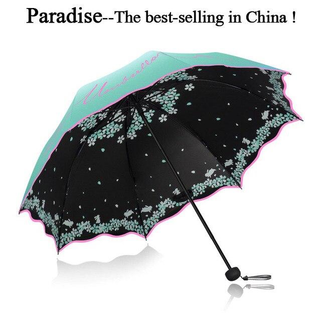 Qualidade Guarda chuva Dobr vel Para As Mulheres Marca Viagem Anti UV Chuva Prova de Vento