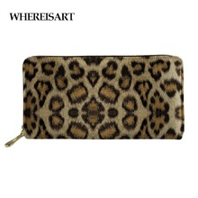WHEREISART Long Zipper Purses Female Leopard Print Women PU Leather Wallets Coin Purse Card Holder Pochette Donna New Arrival