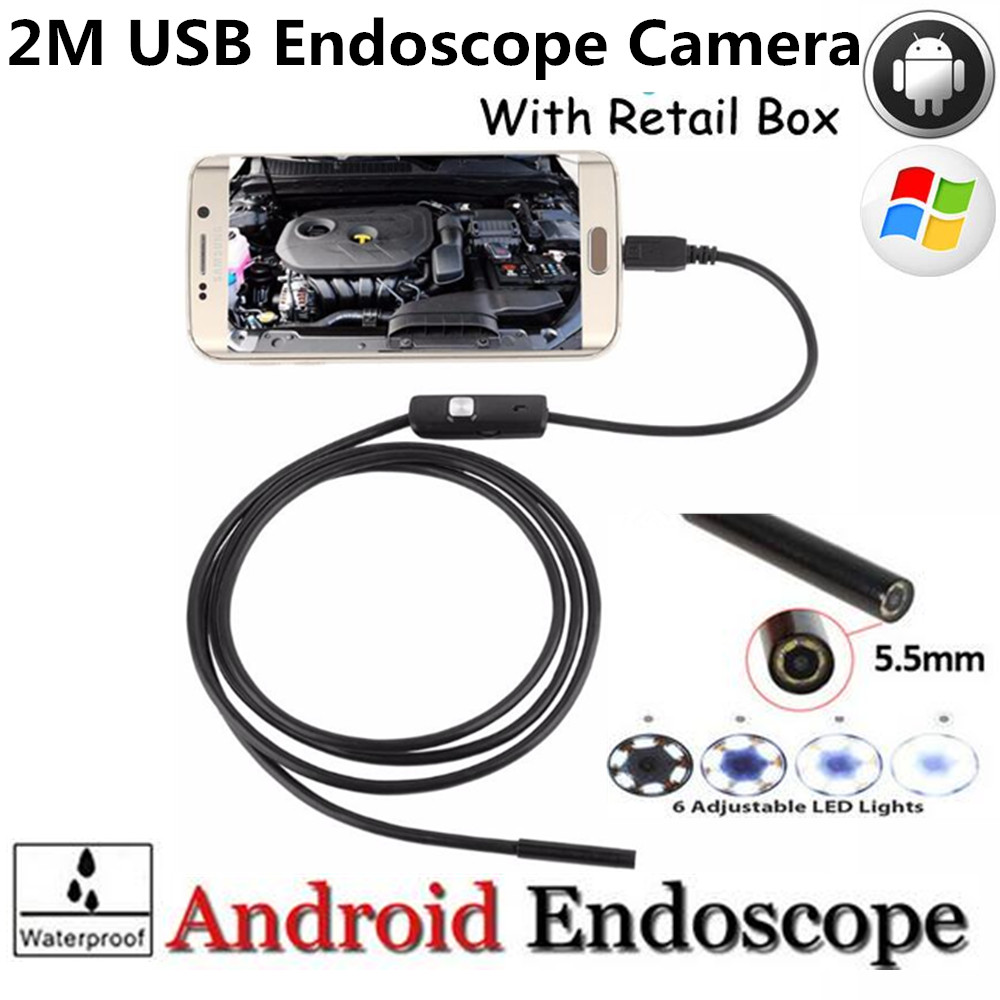 High Quality 5.5mm Len 2M Android OTG USB Endoscope Camera Flexible Snake USB Pipe Inspection Android Phone USB Borescope Camera len e82ev series e82zbc