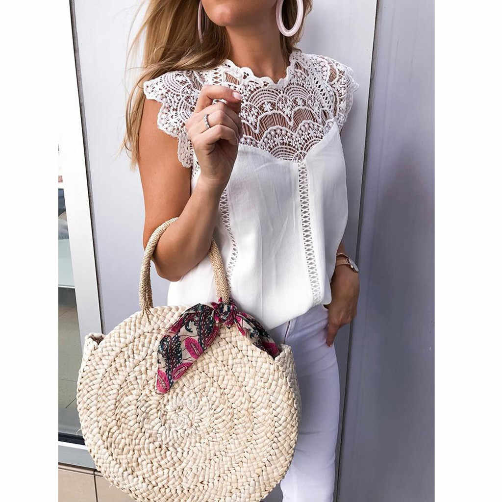 Zomer chiffon blouse Vrouwen Lace Solid Mouwloze Hollow Blouse Tops Shirt vrouwen Patroon hollow Kleding