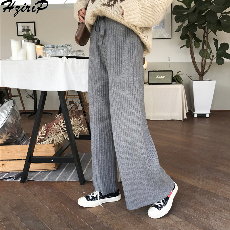 HziriP Korean 2019 Autumn Women Trousers Fashion Fashion Solid Wild Slim Elastic High Waist Lace Loose   Wide     Leg     Pants   3 Colors