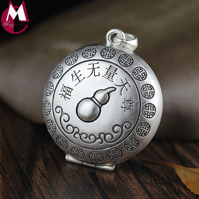 Men Women Pendant Carving Gourd Ethnic Style Tai Chi Yin Yang Phase Gum Box Real 925 Sterling Thai Silver Necklace Fine Jewelry