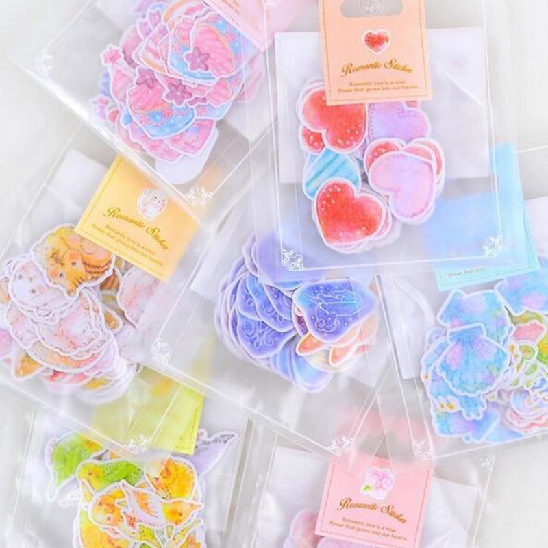 45pcs/70pcs DIY Scrapbook Stickers Cute Heart And Animals Paper Stickers Kids Student Diary Decor List Journal Label Stickers