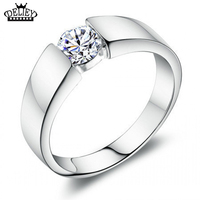DELIEY 100 % Pure 925 Silver Simulation Sona Man Made CZ Ring Male Wedding Ring US Size From 7.5 To 11 FREE SHIPPING