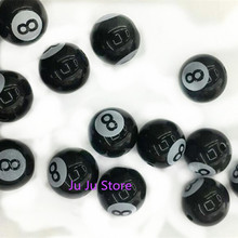 fashion round acrylic beads new billiard ball number 8 diy beads 12/16mm loose beads fit for bracelet 20 pieces y12599