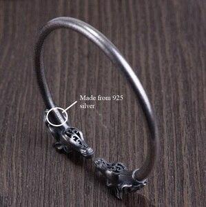 Image 4 - Handmade 100% 925 Silver Good Luck Bracelet Double Horse Symbol Cuff Bracelet Pure Silver Man Bracelet