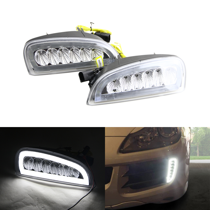Clear Lens Xenon White Led Daytime Running Lights W/ Amber Turn Signal Lamp For Porsche Cayenne 2007-2010 Car DRL Fog Light for opel astra h gtc 2005 15 h11 wiring harness sockets wire connector switch 2 fog lights drl front bumper 5d lens led lamp
