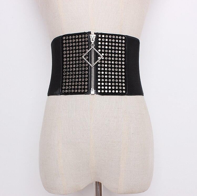 Women's Runway Fashion Rivet Pu Leather Elastic Cummerbunds Female Dress Corsets Waistband Belts Decoration Wide Belt R403