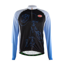 TVSSS Men's Winter Cycling Jersey Normal Design Black and Blue Breathable Biking Clothes TVSSS Brand
