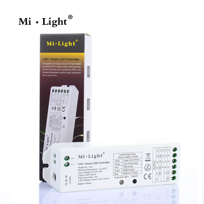 Milight <font><b>LS2</b></font> 2.4G Wireless 5 IN 1 Smart Led <font><b>Controller</b></font> For Single color CCT RGB RGBW RGBWW RGB+CCT <font><b>Controller</b></font> for led strip light image