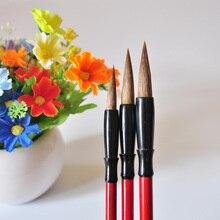 3 шт./лот, кисть для красок ласки, красная ручка, масляная кисть для рисования, каллиграфии, школьные принадлежности