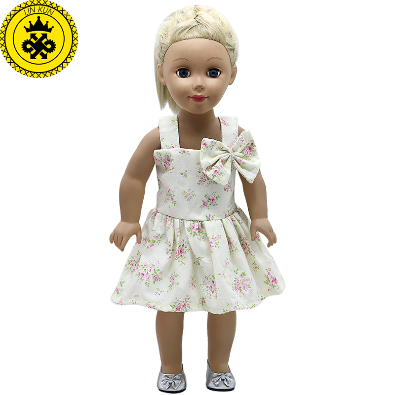 American Girl Doll Clothes Small Floral Pattern Bowknot Princess Dress for 18 inch Madame Alexander Doll Accessories MG-580 american girl doll clothes halloween witch dress cosplay costume doll clothes for 16 18 inch dolls madame alexander doll mg 256