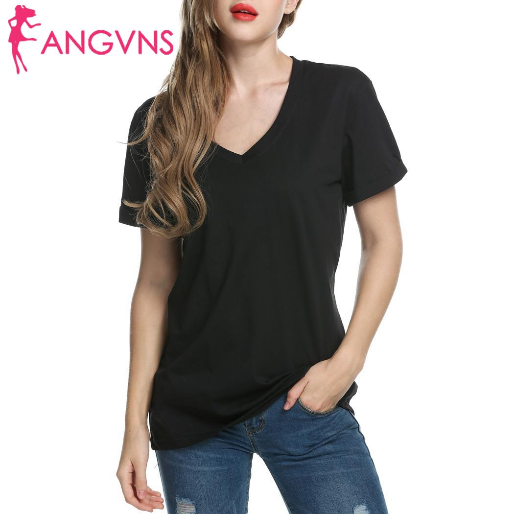 ANGVNS Fashion Women Short Casual Loose Meaneor Solid V Neck T Shirt Sleeve New Sweet Young Women