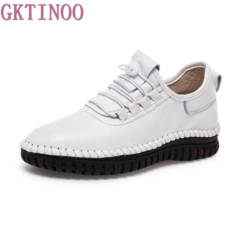 GKTINOO Spring Autumn Women Flats Genuine Leather Zapatillas mujer Casual Shoes Woman Handmade Lace Up Women's Ladies Shoes gktinoo fashion handmade women genuine leather shoes hollow breathable summer spring flats ladies flats shoes casual shoes