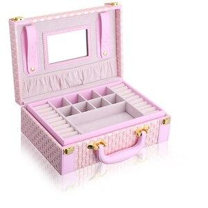 Image 3 - Guanya przenośny pleciony wzór naszyjnik biżuteria opakowanie do przechowywania pudełko na naszyjnik pierścionki kolczyki organizator Case dla dziewczyny prezent