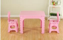 Детский стол. Пластиковый складной стол и стул в детском саду.