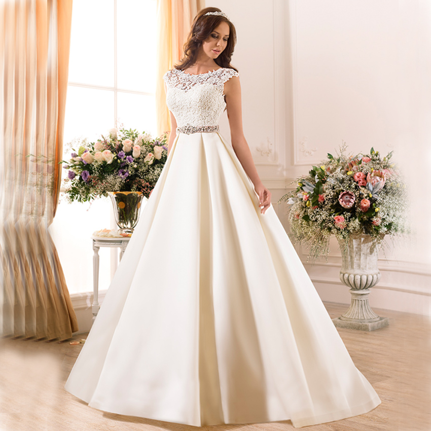 Elegant Lace Sleeve Short Wedding Dresses 2016 Scoop Neck: FW1203 Hot Elegant Satin Beads Lace Ball Gown Wedding